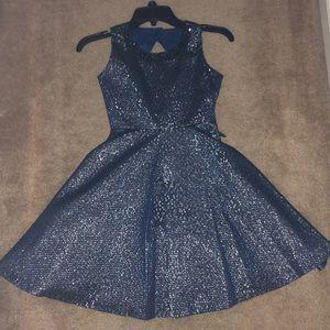 Girls Rare Editions Navy Blue Holiday Dress